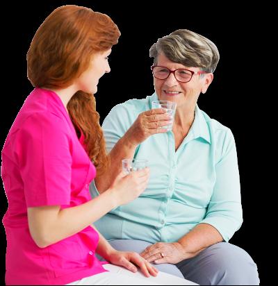 nurse and elderly woman