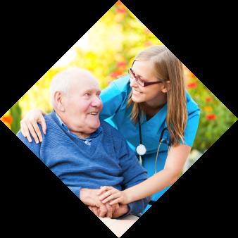 nurse talking to an elderly man