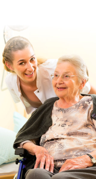 nurse and elderly woman
